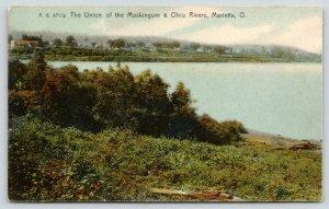 Marietta Ohio~Union of Muskingum & Ohio Rivers~Houses Along Shore~1910