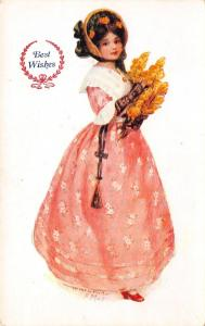 Best Wishes Girl~Bonnet~Pink Dress~Red Shoe~Lace Gloves~Flowers~Alice Mar Artist
