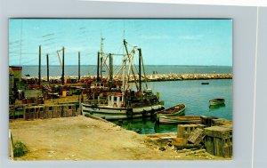 Sakonnet Point RI-Rhode Island, Fishing Boats, Breakwater, Chrome c1966 Postcard