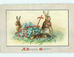 Surface Wear Divided-Back easter BUNNY RABBITS BY FLOWER WAGON r3212