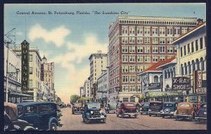 Central Avenue St Petersburg Florida unused c1930's