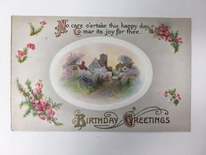 John Winsch Birthday Greetings Postcard Embossed Cottage
