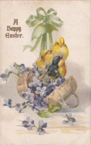 Silk Card Happy Easter With Basket Of Flowers and Chicks