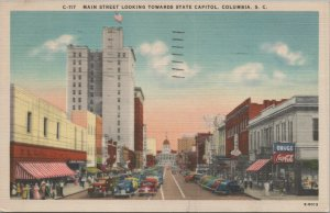 1943 MAIN STREET LOOKING TOWARDS STATE CAPITOL, COLUMBIA, SC.
