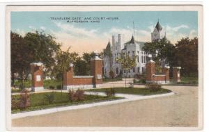 Court House Travellers Gate McPherson Kansas 1920c postcard