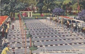 Florida St Petersburg Playing Shuffleboard At Mirror Lake Park 1948 Curteich