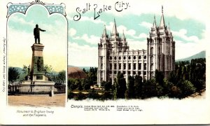 Utah Salt Lake City Temple and Brigham Young Monument 1905