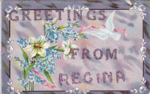 Flowers, Greetings From REGINA, Saskatchewan, Canada, 1900-1910s Glitter Detail
