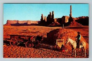 Monument Valley AZ Arizona Yei Bichai Dancer Totem Pole Formation ChromePostcard