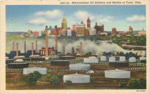 Tulsa Oklahoma~Aerial View of Skyline and Mid-Continent Oil Refinery~1940's