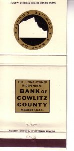 Matchbook Cover ! Bank of Cowlitz County, Washington !