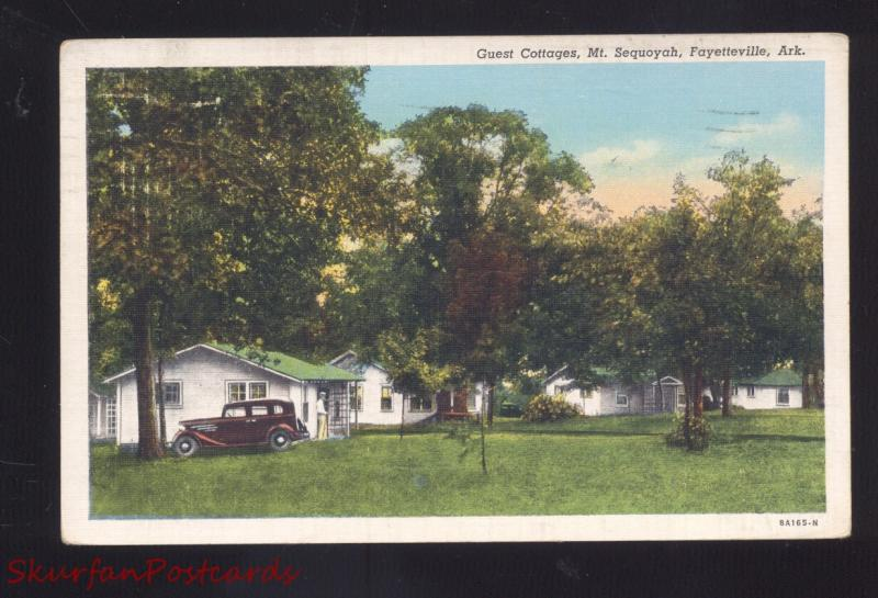 FAYETTEVILLE ARKANSAS ROADSIDE GUEST COTTAGES MT. SEQUOYAH VINTAGE POSTCARD