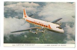 Capital Airlines Viscount Turbo Prop Vintage Postcard