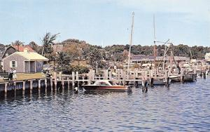 Hyannis Harbor Massachusetts~Ocean Street Docks~Galley~1950s Postcard