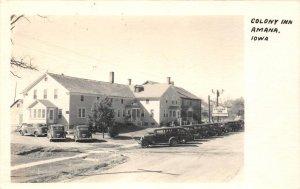 RPPC COLONY INN Amana, Iowa Old Cars Roadside Hotel 1948 Vintage Postcard