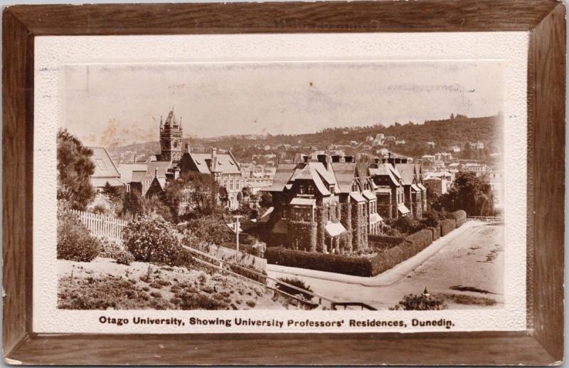 Otago University Dunedin NZ New Zealand Professors Residences RPPC Postcard E33