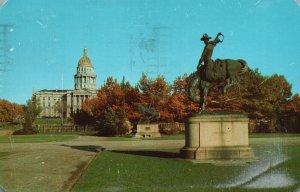 Denver, CO, Broncho Buster, State Capitol, 1959 Vintage Postcard g8379