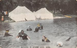 Storm Lake IA Camping Tents Pitched on Water's Edge~Modest Swimwear~Shirts 1909