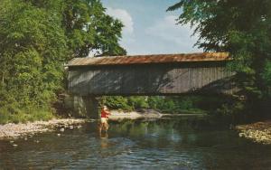 Fishing at Trout River Covered Bridge - Cavendish VT, Vermont