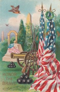 Honor The Brave U. S. Flags, Cannon, Rifles, Memorials, 1900-10s