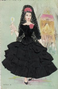 SEVILLA, Spain, 1930-40s; Woman in black dress of material and embroidered lace