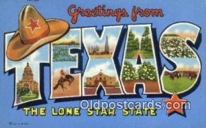 Texas, TX, USA Large Letter Town Postcard Post Card Old Vintage Antique Unused
