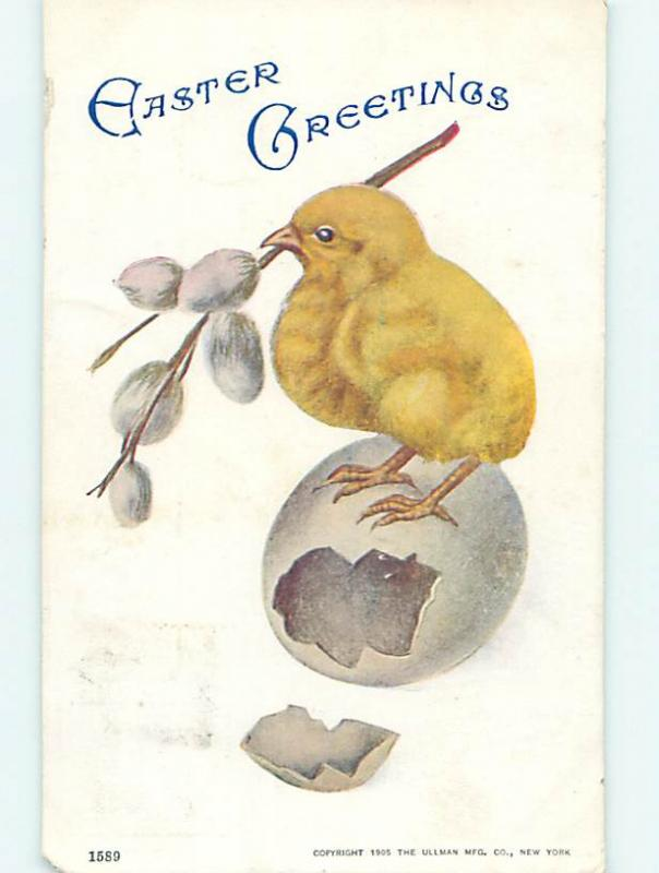 Pre-Linen easter CHICK WITH PUSSY WILLOW IN BEAK STANDS ON EGGSHELL hr2092