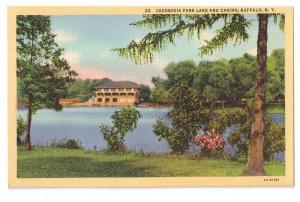 Cazenovia Park Lake and Casino Buffalo NY Curteich Postcard