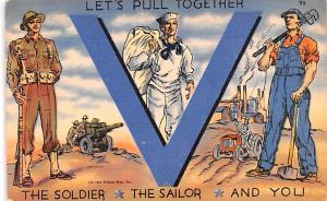 Patriotic Post Card Old Vintage Antique Postcard Let's Pull Together, Vi...