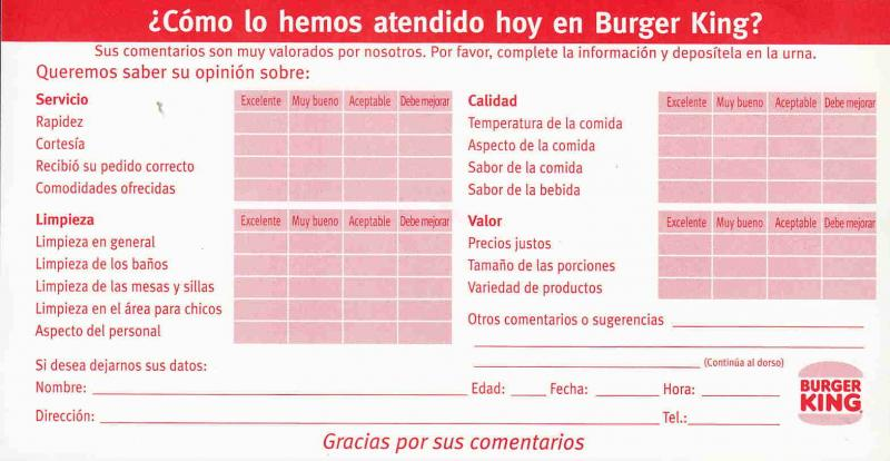ARGENTINA BURGER KING SURVEY FORM AAC1611
