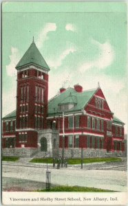 New Albany, Indiana Postcard Vincennes and Shelby Street School 1911 Cancel