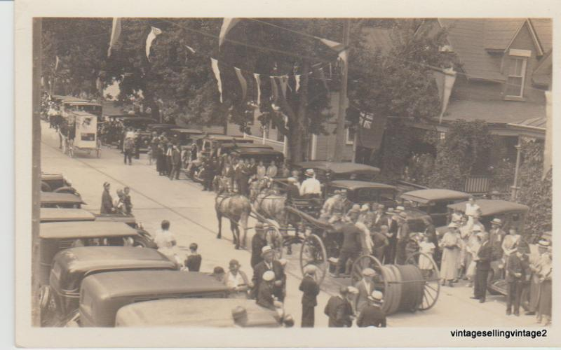 RPPC 1930-1940's Busy Street Scene, Cars, Horse & Buggy, Nicely Dressed People