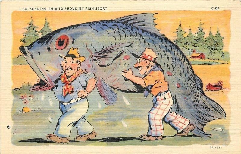 Fish Comic~Two Fisherman Haul Exaggerated Blue Fish~Proves My Fish Story~1942
