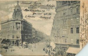 Hungary Budapest Andrassy avenue 1903 postcard ( damage )