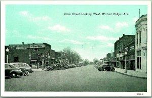 Walnut Ridge, Arkansas Postcard MAIN STREET Looking West Downtown Scene c1940s