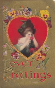 VALENTINE´S DAY ; Woman sniffing a rose , Giant Heart , 00-10s