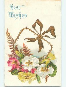 Divided-Back BEAUTIFUL FLOWERS AND GOLDEN RIBBON - BEST WISHES o8885