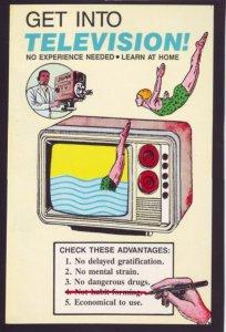 P1368 vintage postcard unused advertising get into telivision