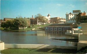 Stratford Ontario~Shore Skyline~Avon River @ Thomas Orr Dam~1950s Postcard