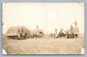FARM SCENE HARVESTING WHEAT in KANSAS 1910 ANTIQUE REAL PHOTO POSTCARD RPPC
