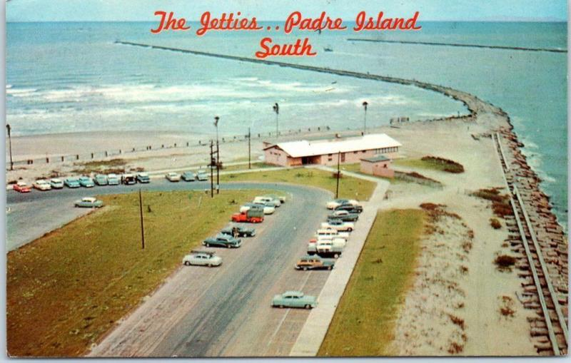 Port Isabel, Texas Postcard Aerial View Southern Tip Padre Island Jetties 1968