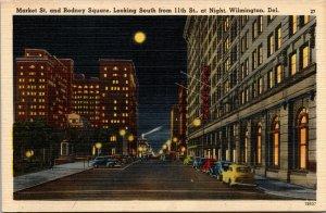 Vtg 1930s Market Street & Rodney Square at Night Wilmington Delaware DE Postcard
