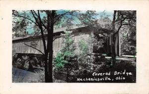 D51/ Mechanicsville Ohio RPPC Postcard Covered Bridge c1950 Colored 9
