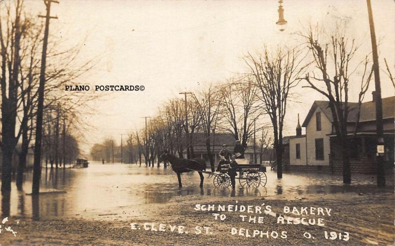DELPHOS, OHIO E. CLEVE. ST FLOODED-SCHNEIDER'S BAKERY TO RESCUE 1913 RPPC