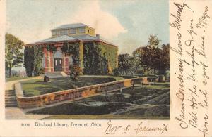 Fremont Ohio Birchard  Library Street View Antique Postcard K87051