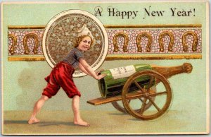 1910s HAPPY NEW YEAR Greetings Postcard Boy w/ Giant Champagne Bottle - UNUSED