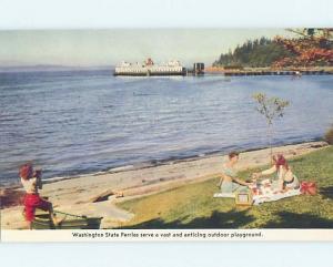 Pre-1980 PICNIC BY FERRY BOAT Ferry Boat - Olympia & Seattle WA hn3143-22