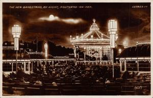 SOUTHEND-ON-SEA ESSEX ENGLAND~THE NEW BANDSTAND BY NIGHT-PHOTO POSTCARD