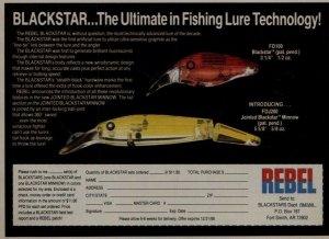 c1988 Rebel Fishing Lure Black Star Print Ad Old Fishing Lure
