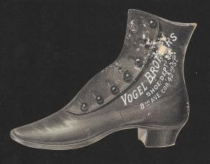 VICTORIAN TRADE CARD Vogel Bros Shoes Die-cut Shoe